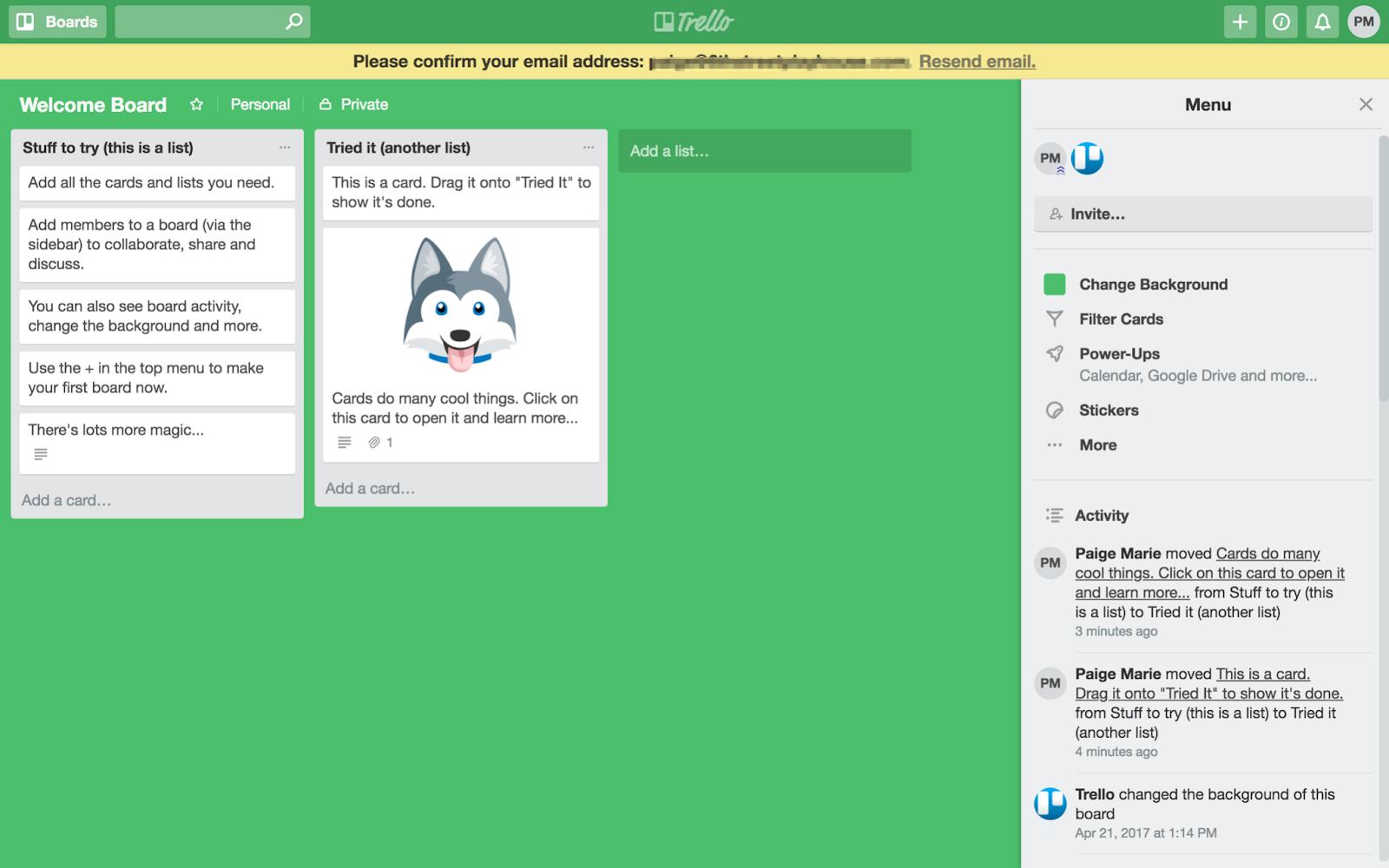 screenshot showing Trello's dashboard