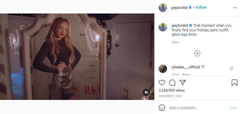 sample of sponsored video ads created by prominent celebrity influencers