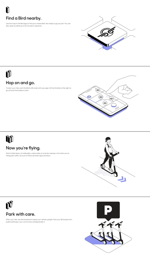 image showing instructions on how to use a scooter
